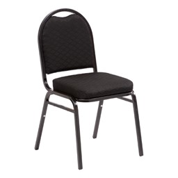 "250 Series Stack Chair w/ 2 1/2"" Thick Seat - Black fabric w/ black frame"