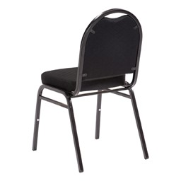 "250 Series Stack Chair w/ 2 1/2"" Thick Seat - Black fabric w/ black frame - Back view"