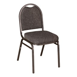 "250 Series Stack Chair w/ 2 1/2"" Thick Seat - Dark gray fabric w/ silvervein frame"