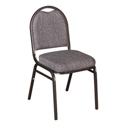 "250 Series Stack Chair w/ 2 1/2"" Thick Seat - Light gray fabric w/ silvervein frame"