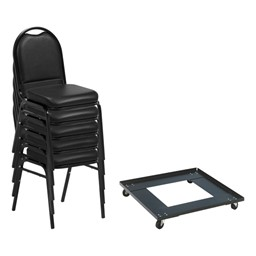 250 Series Stack Chairs & Dolly Package - 24 Vinyl Upholstered Stack Chairs w/ One Dolly Shown