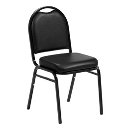 "250 Series Stack Chair w/ 2 1/2"" Thick Seat - Vinyl Upholstered - Black vinyl w/ black frame"