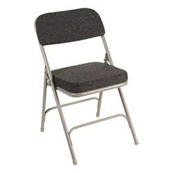 "Folding Chair w/ 2"" Fabric Upholstered Seat - Dark Gray Fabric & Gray Frame"
