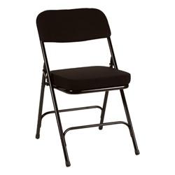 "Folding Chair w/ 2"" Fabric Upholstered Seat - Dark Gray fabric & Gray frame - Black fabric & black frame"