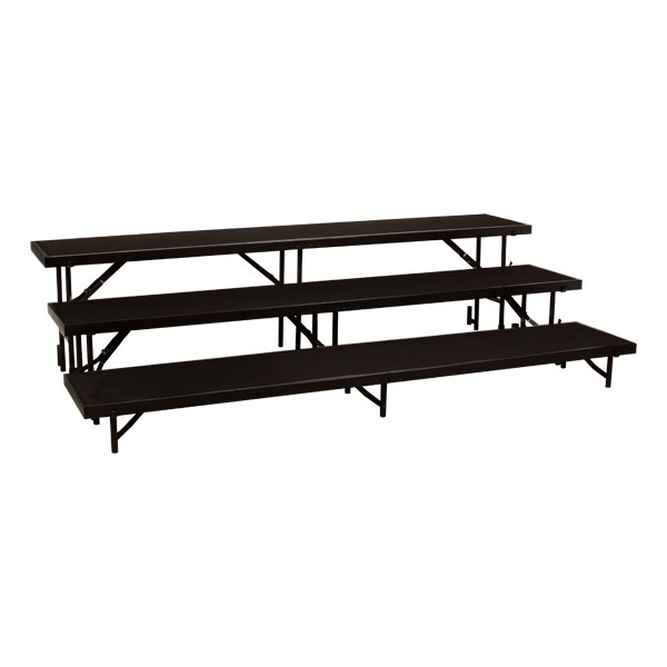 """Straight Standing Choral Risers w/ Carpet Deck - Three Level (24"""" H)"""