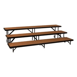 "Straight Standing Choral Risers w/ Hardboard Deck - Three Level (24"" H)"