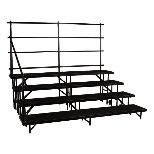 """Straight Standing Choral Risers w/ Carpet Deck - Four Level (32"""" H) - Guardrails not included"""