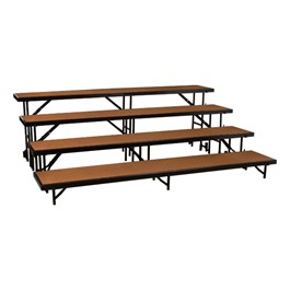 "Straight Standing Choral Risers w/ Hardboard Deck - Four Level (32"" H)"