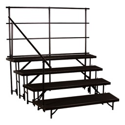"Tapered Standing Choral Risers w/ Carpet Deck - Four Level (32"" H) - Guardrails not included"