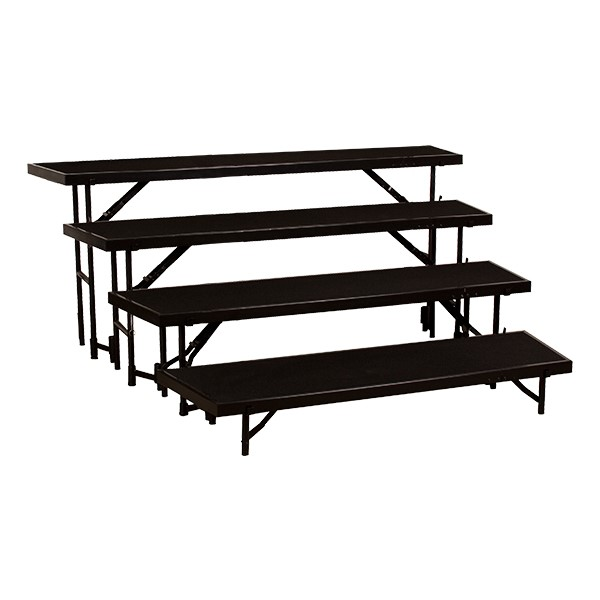 Norwood Commercial Furniture Tapered Standing Choral Risers W Carpet Deck Four Level 32 H At School Outfitters