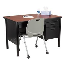 Single-Pedestal Teacher Desk - Cherry desktop