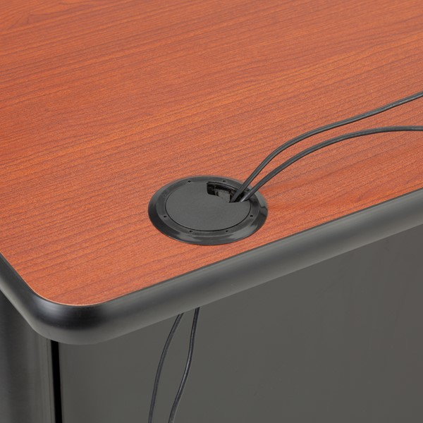 Single-Pedestal Teacher Desk - Grommet