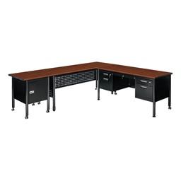 Glide Series Mobile Training Table - Shown w/ Glide Series Locking Mobile Cabinet & Glide Series Double Pedestal Mobile Teacher Desk