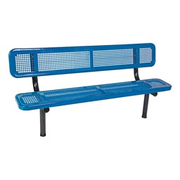 Heavy-Duty Park Bench w/ Back - Round Perforations - Inground Mount (8' L)