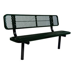 Heavy-Duty Park Bench w/ Back - Diamond Expanded Metal - Inground Mount (6' L)