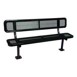 Heavy-Duty Park Bench w/ Back - Round Perforations - Surface Mount (8' L)