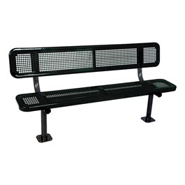 Heavy-Duty Park Bench w/ Back - Round Perforations - Surface Mount (8\' L)