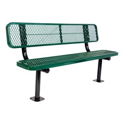 Heavy-Duty Park Bench w/ Back - Diamond Expanded Metal - Surface Mount (8' L)