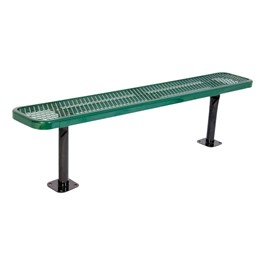 Heavy-Duty Park Bench w/o Back - Diamond Expanded Metal - Surface Mount (6\' L)