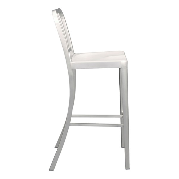 "Aluminum Café Stool - 30 1/8"" Seat Height - Side"