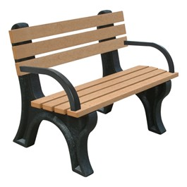 Recycled Plastic Bench w/ Arms (4\' L)