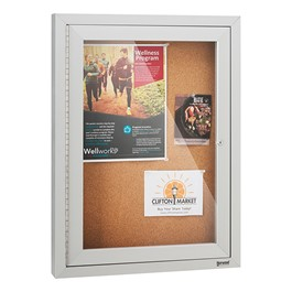 Outdoor/Indoor Enclosed Cork Bulletin Board w/ One Door