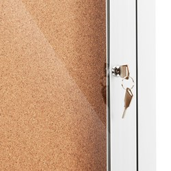 Outdoor/Indoor Enclosed Cork Bulletin Board w/ One Door - Lock