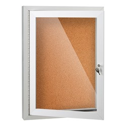 Outdoor/Indoor Enclosed Cork Bulletin Board w/ One Door - Open