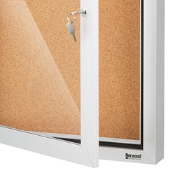 Outdoor/Indoor Enclosed Cork Bulletin Board w/ One Door - Weather Stripping