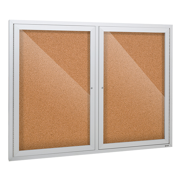 Norwood Commercial Furniture Outdoor/Indoor Enclosed Cork Bulletin Board w/ Two Doors