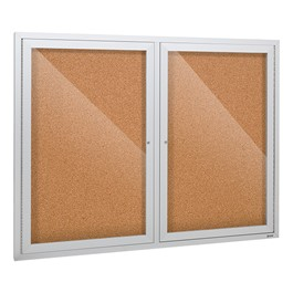 Outdoor/Indoor Enlcosed Cork Bulletin Board w/ Two Doors