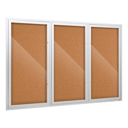 Outdoor/Indoor Enclosed Cork Bulletin Board w/ Three Doors