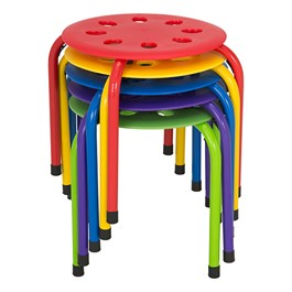 "Assorted Color Plastic Stack Stool - 12"" Seat Height - Stacked"
