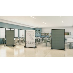 """Portable Ballistic Partition (6' 6"""" H x 4' W) - Tackable Fabric & Magnetic Dry Erase Board"""