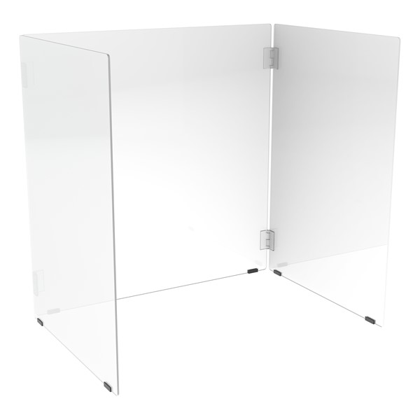 Desk Top Sneeze Guard - Tri-Fold Desk Carrel w/ Hinged Panels