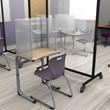 Desk Top Sneeze Guard - Tri-Fold Desk Carrel w/ Hinged Panels - Environment