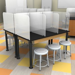 Table Divider Sneeze Guard w/ Sides - Rectangle Table