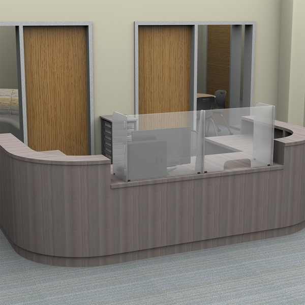 Countertop Sneeze Guard - 2 Panel Barrier w/ Pass Through