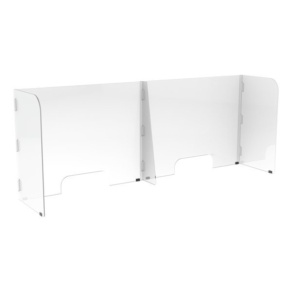 Countertop Sneeze Guard - 2 Panel Barrier w/ Two Pass Throughs
