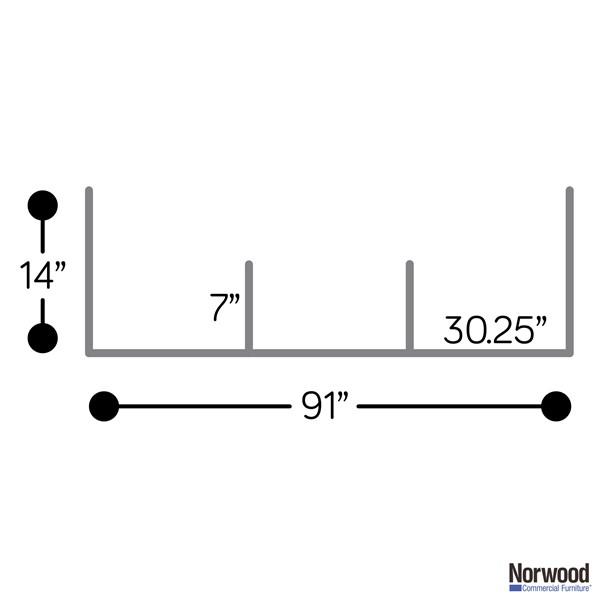 Countertop Sneeze Guard - 3 Panel  Barrier - Dimensions