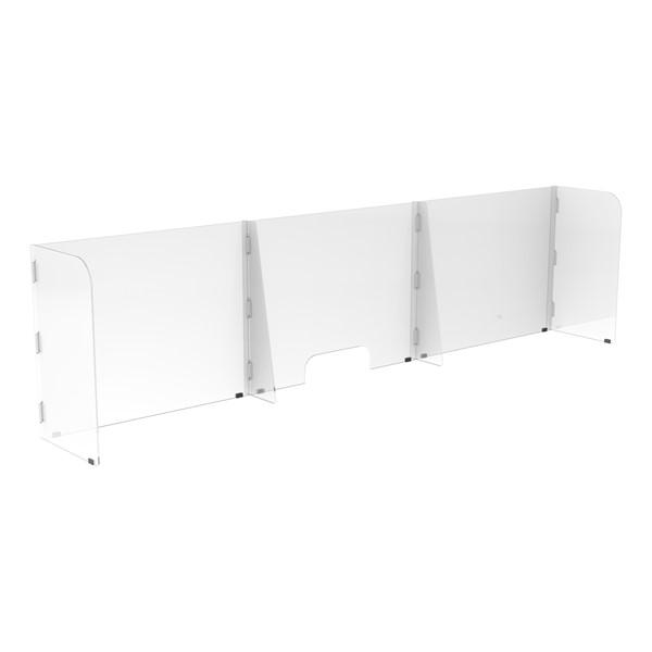 Countertop Sneeze Guard - 3 Panel  Barrier w/ One Pass Through