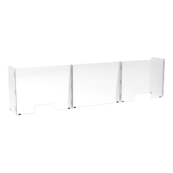 Countertop Sneeze Guard - 3 Panel  Barrier w/ Two Pass Throughs