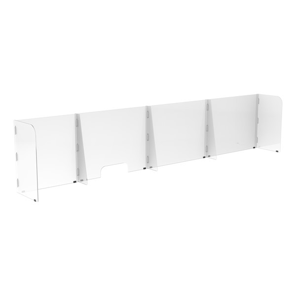 Countertop Sneeze Guard - 4 Panel  Barrier w/ One Pass Through