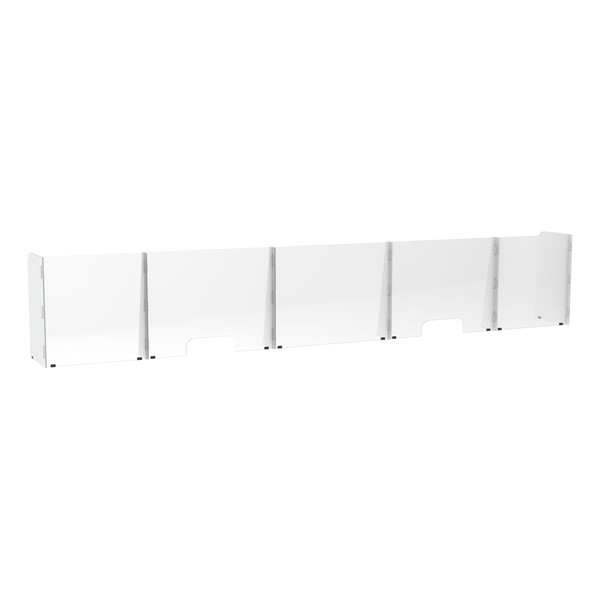 Countertop Sneeze Guard - 5 Panel  Barrier w/ Two Pass Throughs