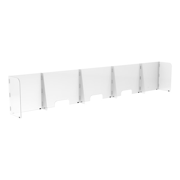 Countertop Sneeze Guard  - 5 Panel  Barrier w/ Three Pass Throughs