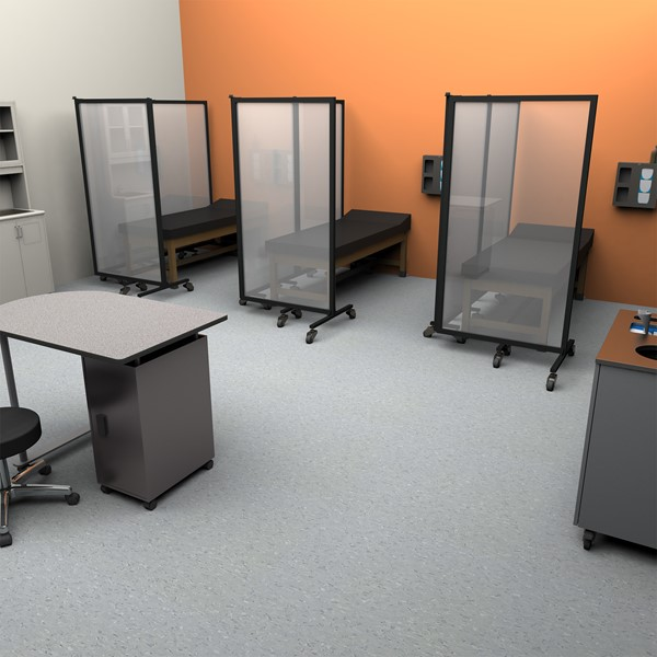 Healthy Safeguard Clear Room Divider - Three Panel (Around Medical Beds)