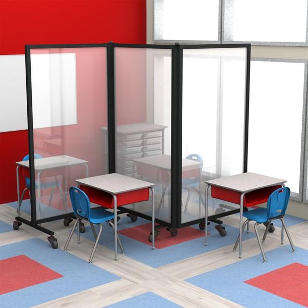 Healthy Safeguard Clear Room Divider - Three Panel (Around Student Desks)