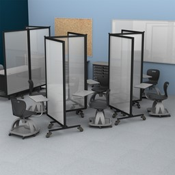 Healthy Safeguard Clear Room Divider - Three Panel (Separating Desks)