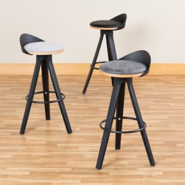 Low-Back Café Stool w/ Black Legs