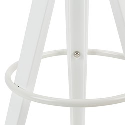 Low-Back Cafe Stool w/ White Legs - Foot Ring